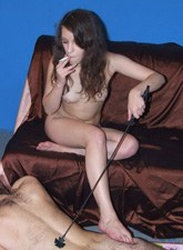 Smoking mistress girlfriends punish a boy